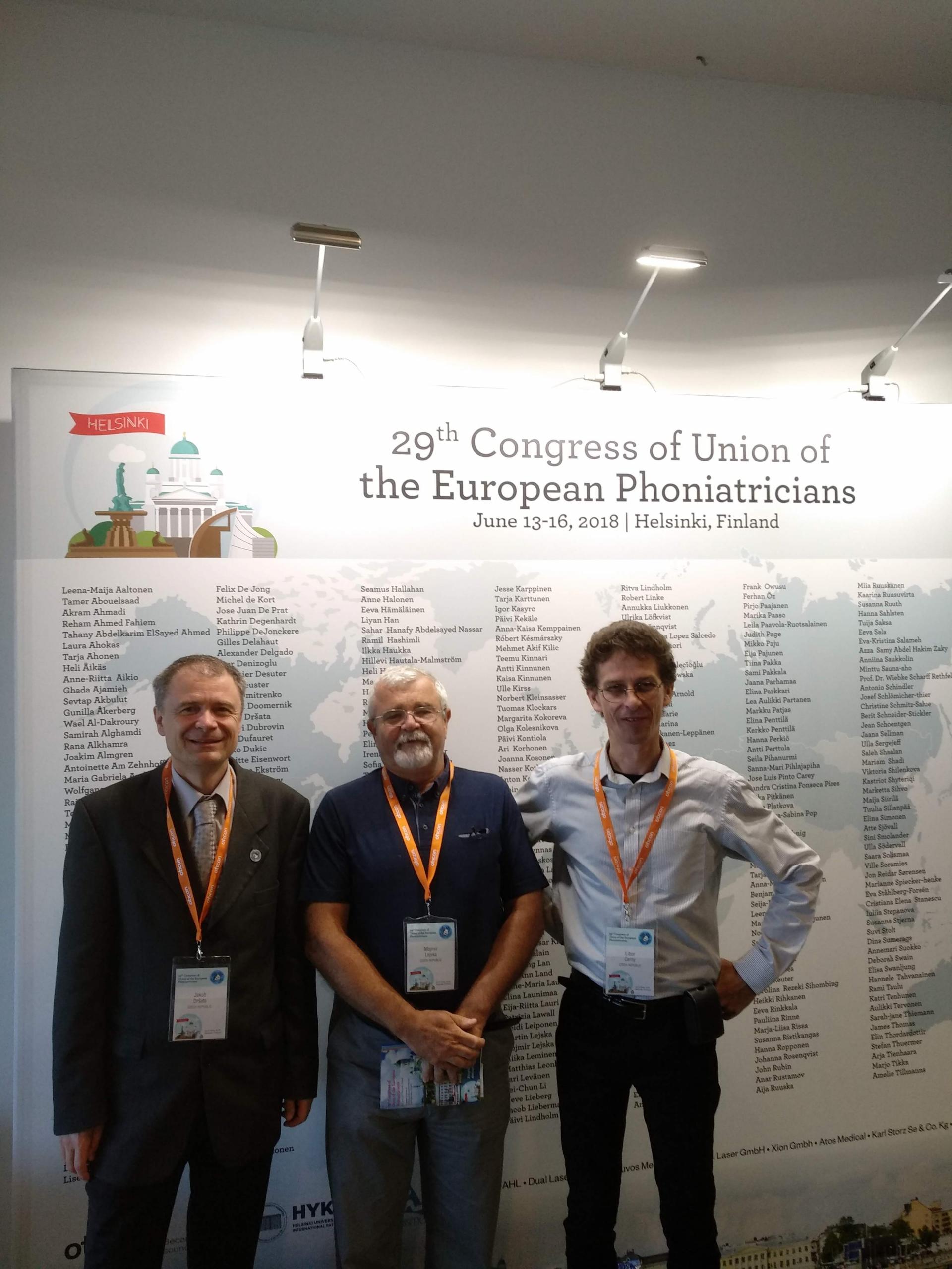 Obr. 1: zúčastnění foniatři na UEP kongresu (zleva: Dršata, Lejska, Černý)