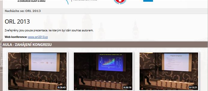 Záznam přednášek zORL kongresu 2013